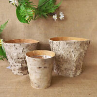 Natural Birch Bark Round Wooden Lined Plant Flower Pot Garden Herbs Seeds