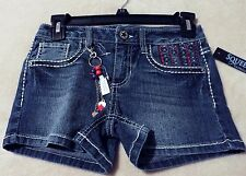 SQUEEZE Girl's10 JULIETTE Wash Denim Shorts With Key Chain~ Faux Rhinestones