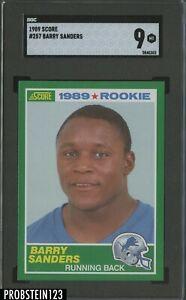 1989 Score Football #257 Barry Sanders Detroit Lions RC Rookie HOF SGC 9 MINT
