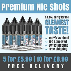Nic Shots | 10ml | 18mg | 100VG | Premium Swiss Nicotine | Made in the UK