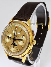 Baume & Mercier Vintage 18k Chronograph Triple Calendar Moon Watch 3902