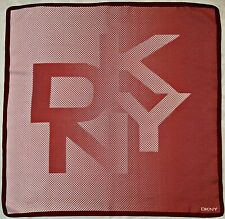 "SCARF VINTAGE AUTHENTIC DONNA KARAN DKNY GEOMETRIC LOGO PINK RED SILK 27"" SQUARE"