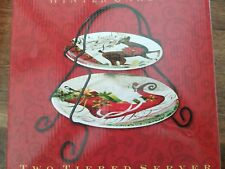 Server Christmas Two Tiered  Winter Garden With Metal Stand NIB New