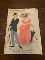 Vintage 1950's Mother and Dad Anniversary Greeting Card  Pop Up