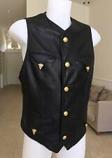GIANNI VERSACE leather vest w/ metal tips Italian size 52 Miami Collection, 1993