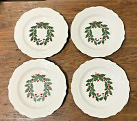 CANONSBURG ADAM ANTIQUE #CAN69 HOLLY VTG LOT OF 4 CHRISTMAS SALAD PLATES EUC