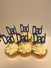 Fathers day DAD cupcake toppers glitter blue/green great for cup cakes x 12