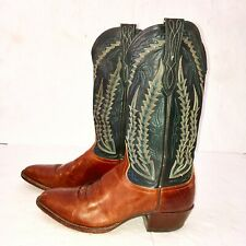 Larry Mahan Cowboy Boots Leather Brown/ Black Embroidered Stitching 4435 Sz 9.5