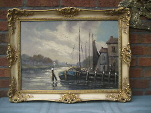 Älteres Ölgemälde LW WIM VAN NORDEN 1917 - 2001 - Holland Niederlande Fluss Dorf