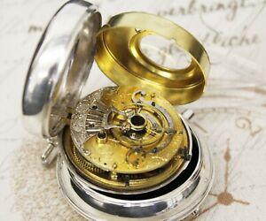 Große antike Spindel Taschenuhr verge pair case pocket watch TOBIAS LONDON
