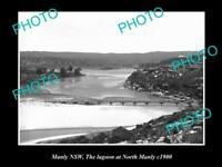 OLD LARGE HISTORIC PHOTO OF MANLY NSW, LAGOON AT NORTH MANLY c1900