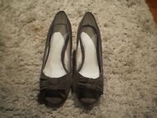 WOMEN'S HOT OPTIONS BROWN FAUX SUEDE OPEN TOE HIGH HEEL SHOES - SIZE10
