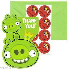 ANGRY BIRDS THANK YOU CARDS (8) Birthday Party Supplies Stationery Notes Thanks
