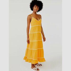 Scoop Women's Ric Rac Trim Midi Dress, Orange/White, XL (16-18)