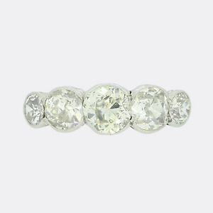 Platinum Diamond Ring- Victorian 2.80 Carat Old Cut Diamond Five Stone Ring