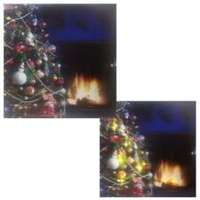 Christmas 40cm x 40cm LED Light up Canvas Picture - Tree and Fireplace