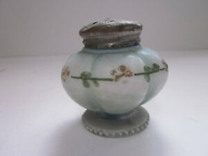 ANTIQUE VICTORIAN LT BLUE & WHITE GLASS HAND PAINT APPLIED FLOWERS SALT SHAKER