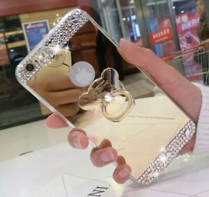 Bling Mirror Gold Case c/w Stick on Finger Ring Holder For iPhone X/MAX/PRO/11,