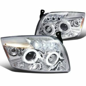 For 07-12 Dodge Caliber Chrome LED Dual Halo Projector Headlights Lamps L+R