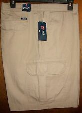 Mens Cargo Shorts sz 50B CHAPS Big Tall Hudson Tan 100% Cotton NWT