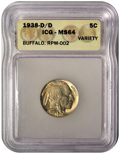1938-D/D BUFFALO NICKEL ~ RARE OVERDATE VARIETY ~ ICG MS64 ~ PRICED RIGHT!