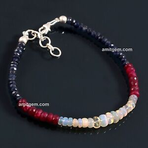 Blue Sapphire Ruby  Opal Rondelle 4 to 6 mm beaded bracelet silver lock 02F