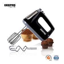 Geepas Electric Hand Food Mixer 5 Speeds & Turbo 400W Egg Beaters & Dough Hooks