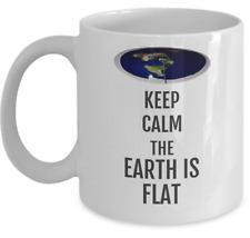 Flat earth coffee mug - Keep Calm the Earth is Flat  - accessories Zetetic gift