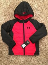 Under Armour Kid Boys Quilted Werewolf Jacket Winter Size 5 Red Black NEW