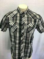 Levi's Short Sleeve Black Gray Plaid Shirt Western Pearl Snap Mens Sz M