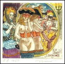 David Bekker 2012 Exlibris C4 Carnival Erotic Nude Voman Mirror 976