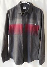 Men's DC Casual Long Sleeve Shirt, Size Medium,Red/Gray, Button Front, NEW