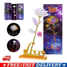 LED Galaxy Crystal Rose Flower Romantic Gold Mother's Day Birthday Gift With Box