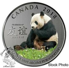 Canada 2018 $8 The Peaceful Panda a Gift of Friendship Pure Silver Coloured Coin