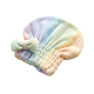 Fast Dry Hair Bath Towel Microfiber Quick Drying Plush Bonnet Shower Cap WM