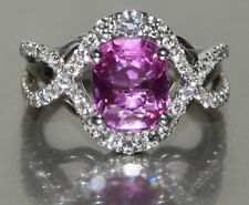 Natural Pink Sapphire & Diamond 18k White Gold Ring ~ Size 6.5 ~ Full Appr $8300