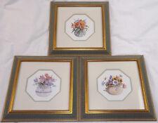 Trio a fiori ad acquerello stampa velluto verde e oro dorati TELAIO MANOSCRITTO Limited