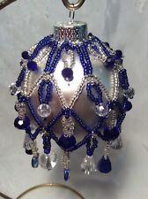 Christmas Ornament, Handmade Beaded Cover Blue/silver On Glass Ball