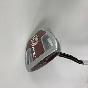 """LEFTY NEW TaylorMade Spider Mini (Red/Silver) Heel Bend Putter 35"""" Super Stroke"""