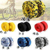 2PCS MTB Bike Bicycle Handlebar Cork Bar Grip Ribbon Wrap Tapes + 2 Bars Plugs