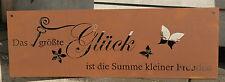 Gedichttafel Glück Spruchtafel Metall  Garten Edelrost Deko Schild Spruchtafel