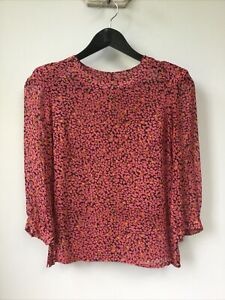 Gorgeous Ladies Whistles Pink Patterned 100% Silk Top, UK Size 6, Good Condition