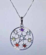 FAIRY STAR, SEPTAGRAM  CHAKRA GEMSTONE STERLING SILVER NECKLACE 18""