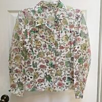 Bamboo Traders Burnout Top size Large Burnout Button up Blouse