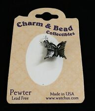 Great quality detailed pewter Butterfly made in USA   charm PENDANT