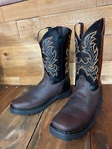 Men's Work Boot Genuine Leather Soft Square Toe Dark Brown YellowTag
