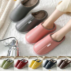 Unisex Waterproof Furry Lined Slippers Clogs Home Warm Fur Indoor Mules Shoes US