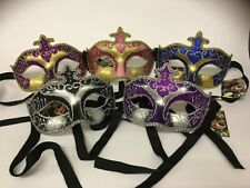 MASQUERADE Mask MILANO with Ribbon Ties, Balls & Fancy Dress In 6 Colours