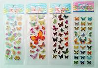 3D Schmetterlinge 1-20 Folien Aufkleber Stickerbogen Puffy Kinder Basteln