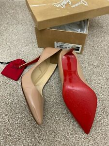 Christian Louboutin Pigalle 100 nude patent Shoes Kate heels UK7.5US10EU40.5